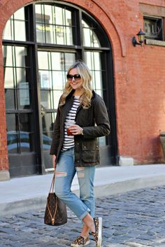 Boyfriend jeans, striped t-shirt, green jacket, animal print shoes, spring or fall outfit.