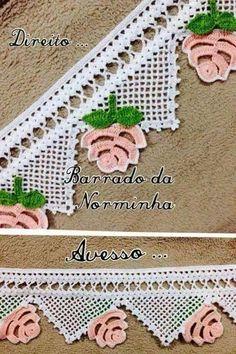 HUZUR SOKAĞI (Yaşamaya Değer Hobiler) Crochet Lace Edging, Crochet Borders, Thread Crochet, Filet Crochet, Crochet Crafts, Crochet Flowers, Crochet Projects, Knit Crochet, Crochet Embellishments