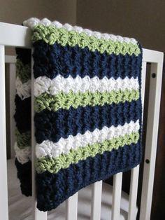 Chunky Preppy Baby Reversible Crochet Blanket by 12Charlotte