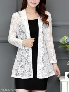 Collarless Lace See-Through Plain Cardigan Lace Cardigan, Cardigan Outfits, Cardigan Fashion, 60 Fashion, Fashion Dresses, Dress Shirts For Women, Clothes For Women, Look Blazer, Fancy Tops