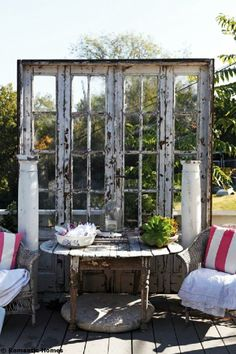 Dishfunctional Designs: New Takes On Old Doors: Salvaged Doors Repurposed Old French Doors, Old Doors, Old Windows, Windows And Doors, Recycled Windows, Recycled Wood, Recycled Glass, French Windows, Outdoor Rooms