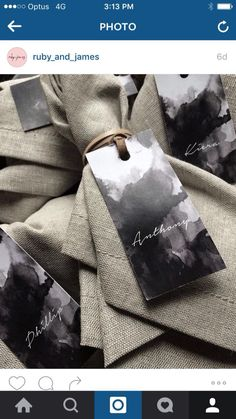 Grey napkins with leather ties
