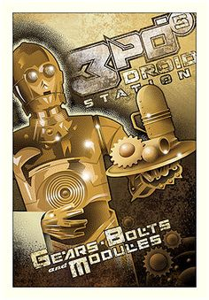 3 POS DROID STATION, Star Wars 3CPO print by Mike Kungl