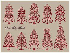 Christmas trees 2 cross stitch chart by Helga Mandl E-pattern PDF. $12.00, via Etsy.