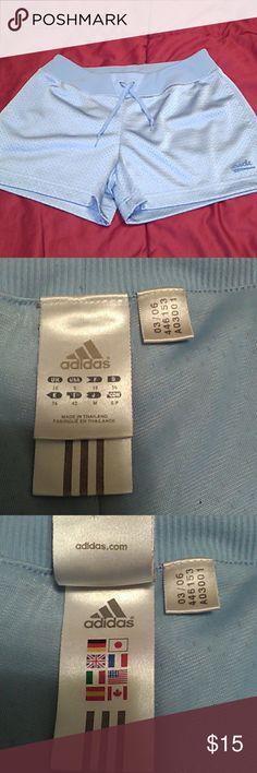 "NWOT/Adidas Shorts Size Sm/ Adorable baby blue. 100% polyester machine washable. Draw sting & elastic waistband. Waist 28"" stretches to 32"" inseam 2""  Inventory #0107 Adidas Shorts"