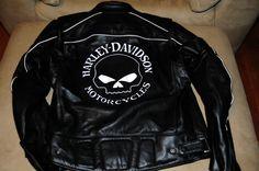 Harley Davidson, Willie G Reflective Skull Leather Jacket, Mens XL