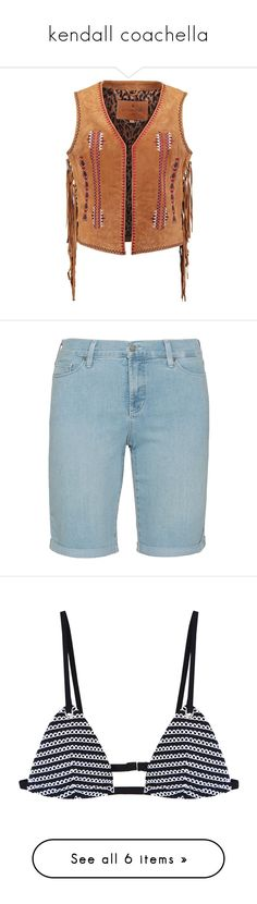 """""""kendall coachella"""" by soguemoments ❤ liked on Polyvore featuring outerwear, vests, brown vest, brown waistcoat, waistcoat vest, shorts, plus size, light blue shorts, relaxed fit shorts and nydj"""