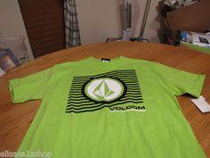 Boy's youth Volcom Stone short sleeve lime black white logo large L NEW t shirt