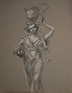 Water-bearer with flask of perfume.  Sarah Myers, charcoal and conte on grayscale paper
