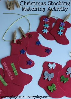 A Christmas game for matching stockings and hanging them up with clothes pegs.