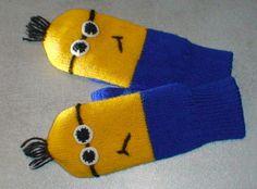 Woolen mittens for children Double sided Minion idea