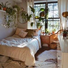 Awesome Bohemian Bedroom Designs and Decor – Bedroom Inspirations Room Design Bedroom, Room Ideas Bedroom, Bedroom Decor, Bedroom Designs, Bedroom Inspo, Bedroom Inspiration Cozy, Nature Bedroom, Garden Bedroom, Warm Bedroom