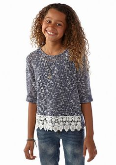 Speechless Drop Shoulder Crochet Hem Top Girls 7-16