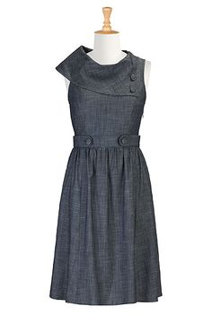Vintage denim chambray dress