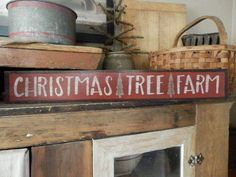 PriMiTiVe ~ ChRisTmaS TrEe FarM ~ HandPainTeD WooDen SigN ~ EaRLy LooK ~ LOVe | Antiques, Primitives | eBay!