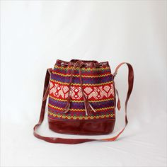red folk tribal bag / Guatemalan ethnic bucket bag. $55.00, via Etsy.