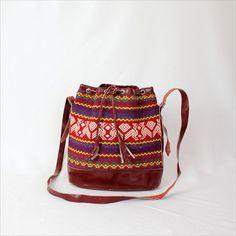 red folk tribal bag / Guatemalan ethnic bucket bag. $55.00, via Etsy.