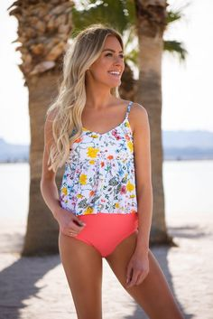 V Peplum Tankini - Sunny May Floral - DM Fashion