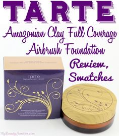 Tarte Amazonian Clay Full Coverage Airbrush Powder Foundation review, swatches, FOTDwith Medium Neutral and Medium Tan sand.