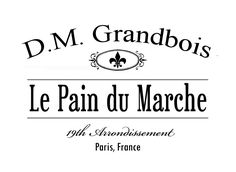 French bread graphic for transfers. Le Pain du Marche. D.M. Grandbois
