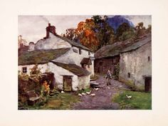 1908 Print Old Post Office Loweswater England Mailman Geese Buildings Tree Old Post Office, Tree Bench, Artist Signatures, Water Damage, Art Studies, Lake District, Norway, Buildings, Old Things