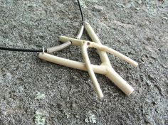 """by Linda Magi, from the """"of a place - Muskoka"""" collection. """"2 Y Sticks Necklace""""  Canadian Maple from the Muskoka region of Ontario, argentium sterling silver, leather  #Muskoka #woodjewelry"""