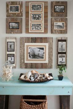 Discover thousands of images about Fotowände und Fotocollagen Ideen - Fotowand aus Holz Unique Home Decor, Diy Home Decor, Room Decor, Rustic Decor, Farmhouse Decor, Rustic Wood, Diy Wood, Barn Wood Decor, Pallet Wall Decor