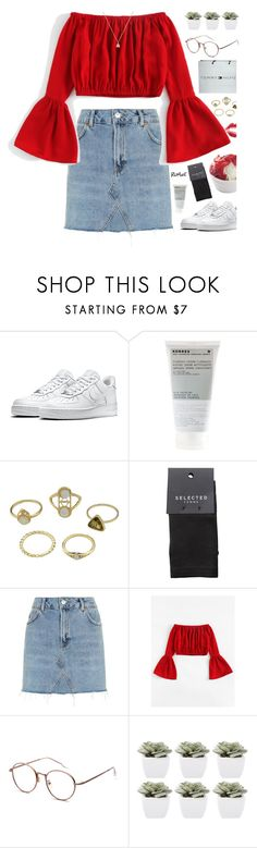 """""""6/10"""" by moonlightbaeex ❤ liked on Polyvore featuring NIKE, Tommy Hilfiger, Korres, SELECTED, Topshop, Abigail Ahern and Gucci"""