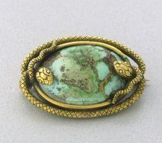 Victorian 14k Gold Turquoise Snake Brooch http://hamptonestateauction.com/