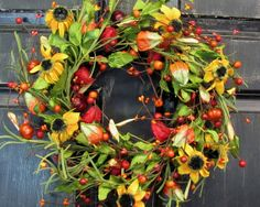 Fall Floral Wreath  Sunflowers Chinese Lanterns & by Designawreath, $49.95