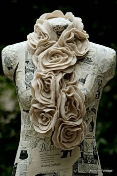 cherished*vintage: Dress Form Makeover--- love this rose scarf! Felt Flower Scarf, Felt Flowers, Fabric Flowers, Felt Roses, Floral Scarf, Orchid Flowers, Fabric Crafts, Sewing Crafts, Fleece Crafts