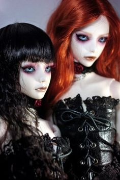 "Gothic doll @SelvDestrukt  ...they sort of look like they might be porcelain dolls, but i'm not sure.... i get really annoyed by ""stereotypical GOTH"" stuff, but these dolls are strangely beautiful - don't get me wrong, they're not going in my house, but i do appreciate their strangely fragile, dark, ethereal beauty,"