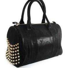 Amazon.com: Designer Inspired Fashion Rocco Spike Studded Tote Satchel Bag Duffel Style Adjustable Shoulder Strap Golden Rivet Studded Boston Handbag Purses in Black: Clothing $47.99