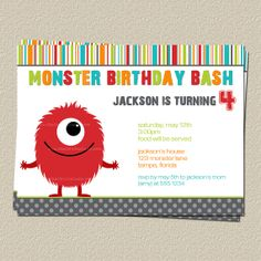 Monster Birthday Invitations, Monster Bash Theme Birthday Party Invites. Change the monster to mike Wazowski