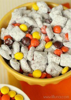 YUMMY Reeses Pieces Puppy Chow on { lilluna.com }