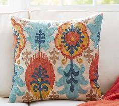 Throw pillow for bay window? (2 of 6 pillows) ---Leigh Multi Ikat Embroidered Pillow Cover #potterybarn