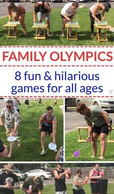 These family Olympic games are eight silly and hilarious that everyone will love. Cheap and simple supplies and loads of fun! 8 silly crowd games perfect for family reunions, neighborhood parties, or friend get-togethers! Family Games For Kids, Family Party Games, Family Reunion Games, Family Reunions, Backyard Games For Kids, Olympic Games For Kids, Kids Fun, Family Games Indoor, Family Outdoor Activities
