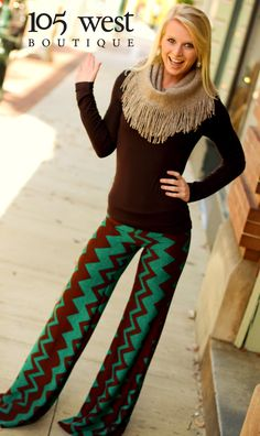"""The """"Jewel"""" Palazzo Pants - 105 West Boutique. I would so wear this outfit, just without the scarf!"""