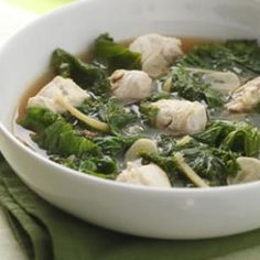 Hawaiian Ginger-Chicken Stew for Two Recipe ~ This chicken stew has a bold ginger-flavored broth and provides a whole serving of dark leafy greens in each bowl. We tried it with frozen chopped mustard greens (available in large supermarkets) and it was even quicker to prepare and just as delicious. Serve with brown rice.
