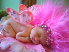 fairy baby pink PRINCESS ooak art doll wing fantasy flower fairies crystal