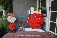 Made some Peanuts themed yard art for my wife, will add pieces to it over the years. Made Snoopy and Woodstock so that I can add base pieces and hats etc. depending on the season, this is the Christmas setup with Charlie Brown, his hat is removable. Christmas Yard Art, Office Christmas, Outdoor Christmas Decorations, Christmas Projects, Christmas Lights, Christmas Holidays, Charlie Brown Christmas Decorations, Lawn Decorations, Christmas Ideas