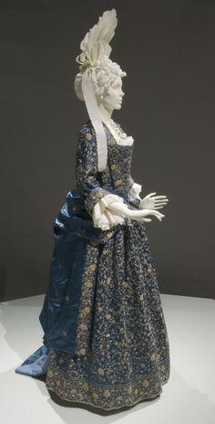 Mantua, Stomacher, and Petticoat: ca. 1700, Italian, silk satin with metallic embroidery.  | LACMA Collections