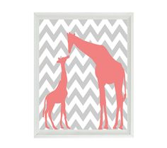 16 Chic Chevron Nursery Ideas from DisneyBaby.com and available on Etsy! Pink and Gray Mother and Baby Giraffe Chevron Nursery Wall Art Print