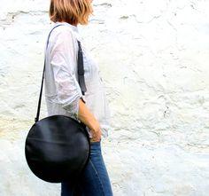 Black leather crossbody bag, circle bag, round bag, leather cross body bag FREE SHIPPING