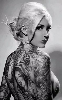 Sabina Kelley -- Portrait - Tattoos - Ink - Editorial - Black and White - Photography - Pose Tatoo 3d, Fake Tattoo, Tatto Ink, 1 Tattoo, Tattoo Blog, Hot Tattoos, Body Art Tattoos, Girl Tattoos, Tattoos For Women