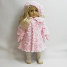 Soft pink coat and hat for AG doll