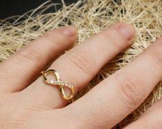 1/3CT Diamond Infinity Ring 10K Yellow Gold by Pompeii3 on Etsy
