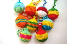 Cotton colorful ball toy rattle Waldorf Teething Toy Teething Rattle Breastfeeding Babywearing teether Crochet toy Nursing coose your color via Etsy