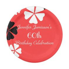 Red Floral Personalized 60th Birthday Party Paper Plate