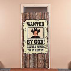 """Wanted By God!"" Photo Door Banner - OrientalTrading.com"